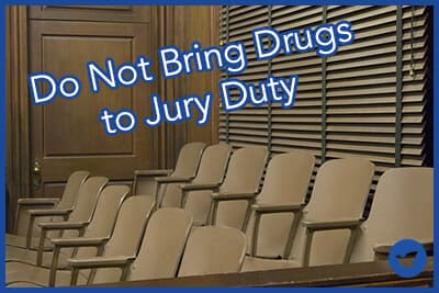 Empty jury box in court room